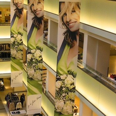 Hanging indoor banners for retail, shops and boutiques
